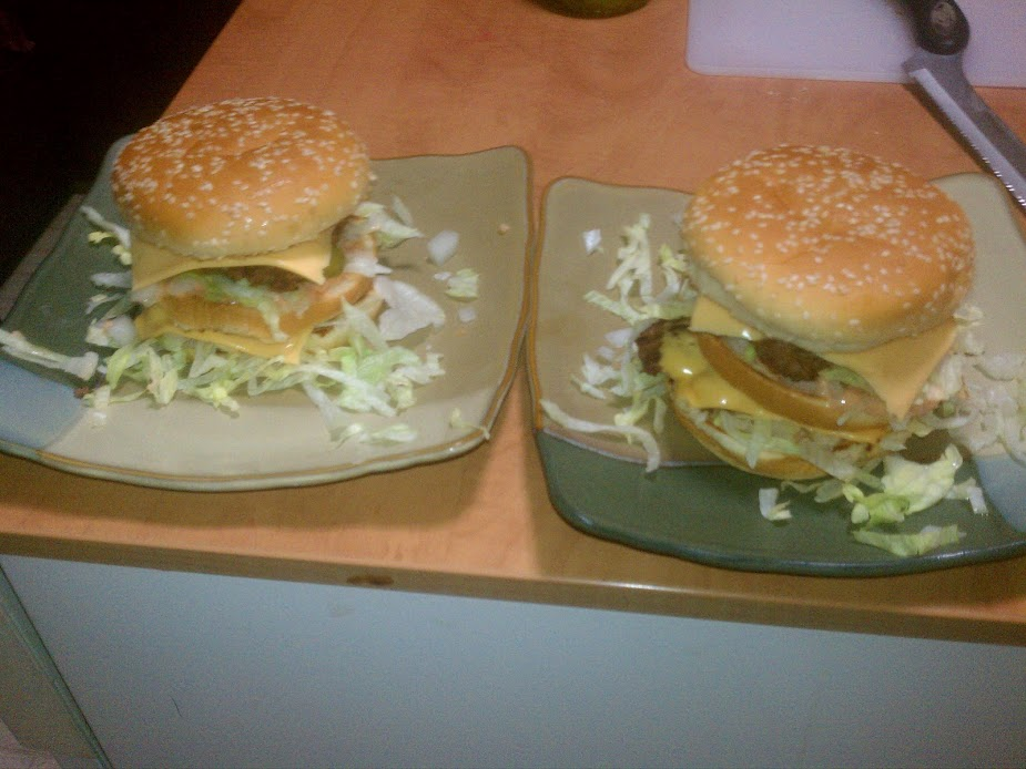 A rare photo of the actual recreated Big Mac sandwiches.