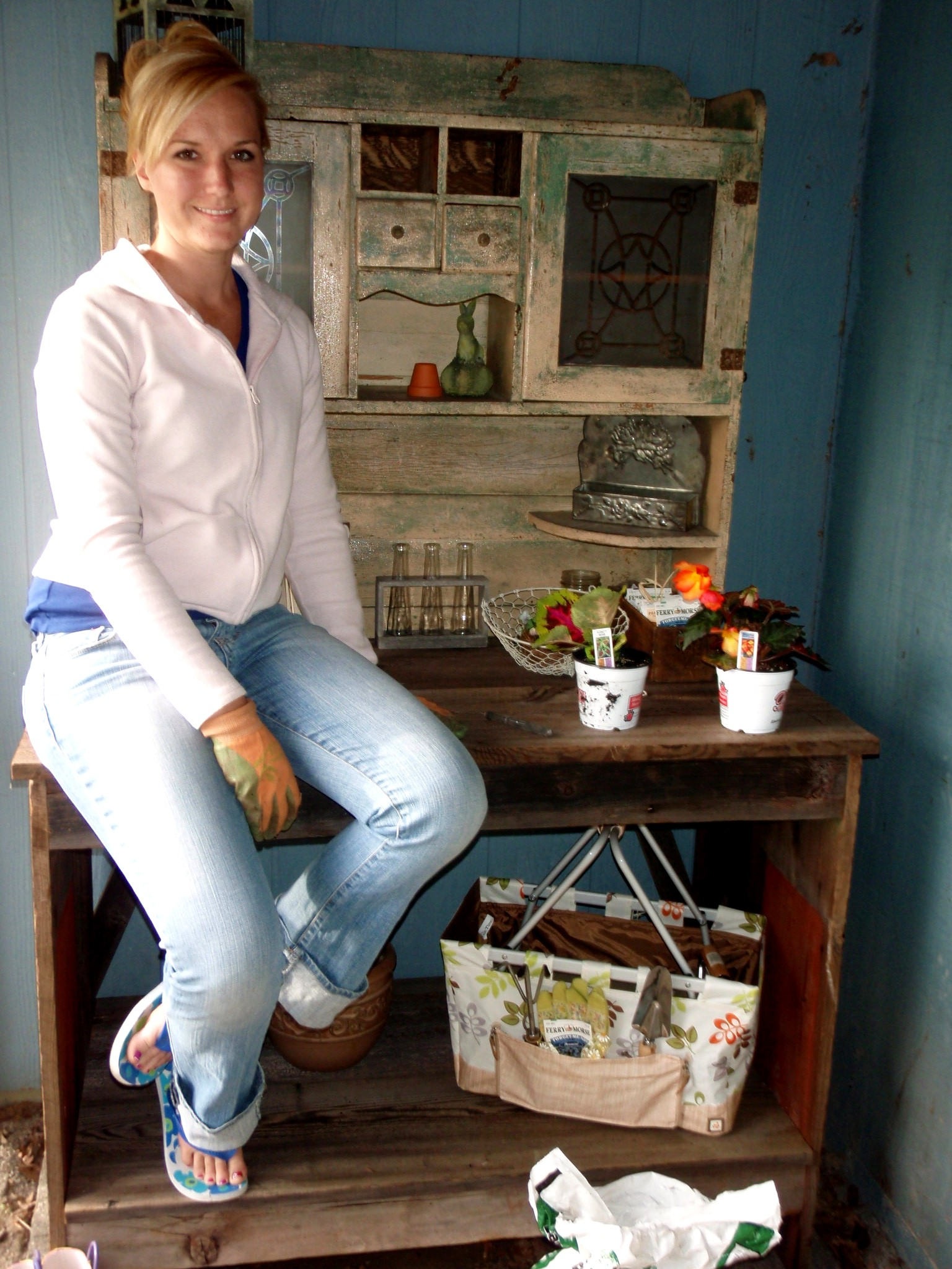 Jessica enjoying her first day with her potting bench.