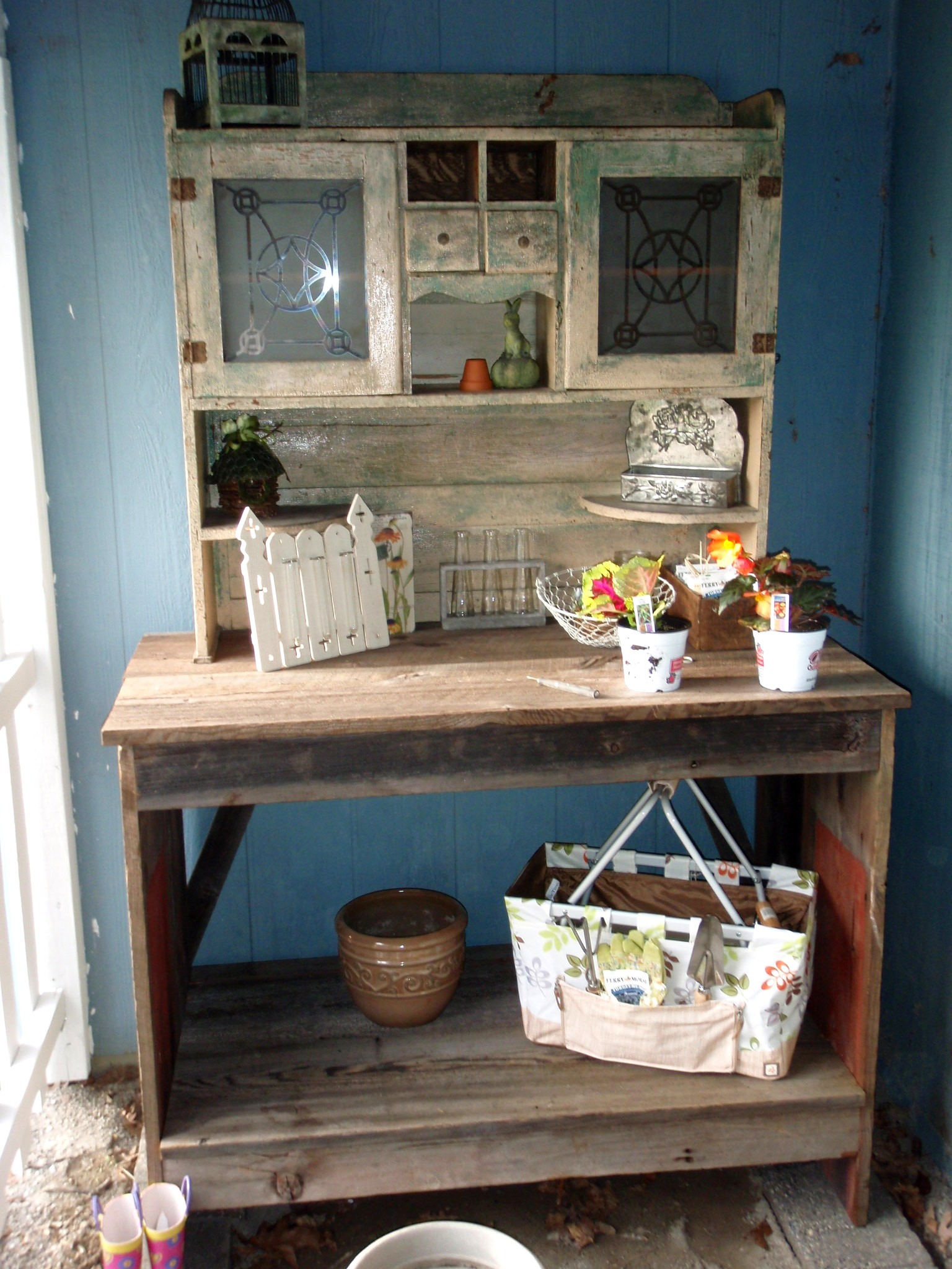 The potting bench made from 120 year old barn wood.